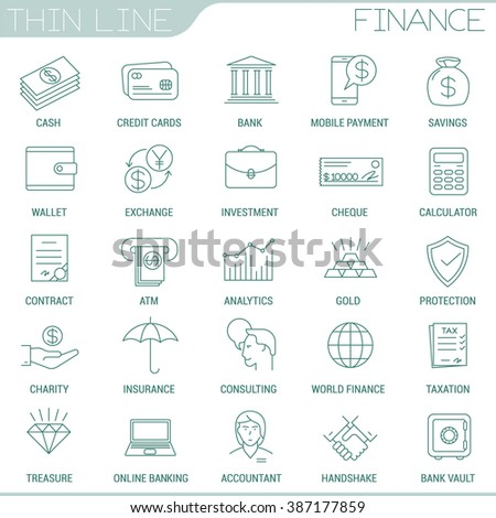 Thin line money and finance vector interface icon set