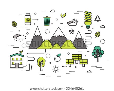 Thin line natural resources modern illustration concept. Infographic way from ecology to clean energy. Icons on isolated white background. Flat vector template design for web and mobile application - stock vector