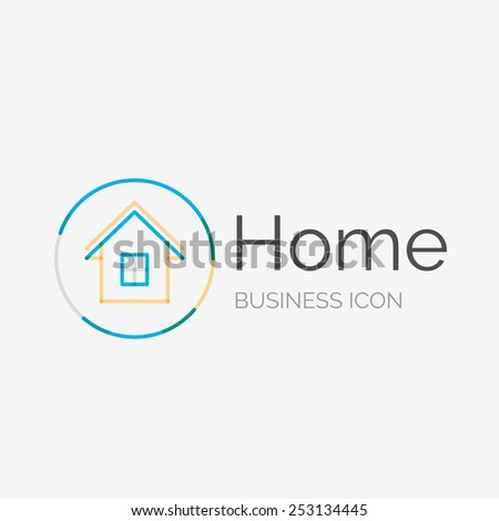 Thin line neat design logo, clean modern concept, home, house idea - stock vector