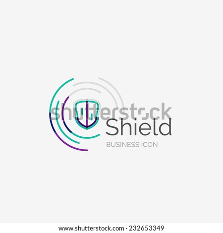 Thin line neat design logo, clean modern concept, shield icon - stock vector
