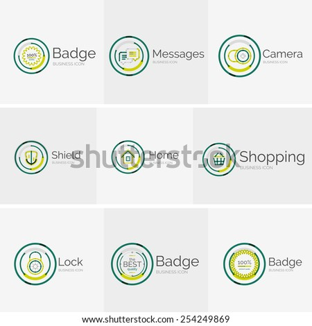 Thin line neat design logo colletion - 9 vector clean modern icons and stamps - stock vector