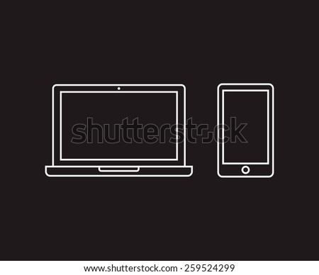 Thin line outline icons of laptop and smartphone isolated on dark background - stock vector