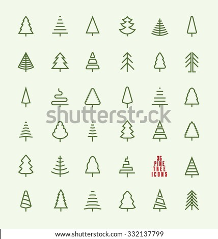 Thin Line Pine Tree Icon Set - A collection of 35 christmas tree line icon designs on light background - stock vector