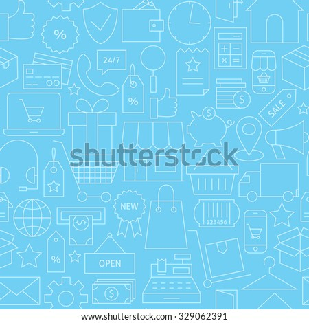 Thin Line Retail E-commerce Online Business Seamless Blue Pattern. Vector Shopping and Marketplace Design and Seamless Background in Trendy Modern Line Style. Thin Outline Art - stock vector