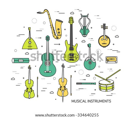 Thin line set of musical instruments modern illustration concept. Infographic way from melody to concert. Icons on background. Flat vector template design for web and mobile application - stock vector