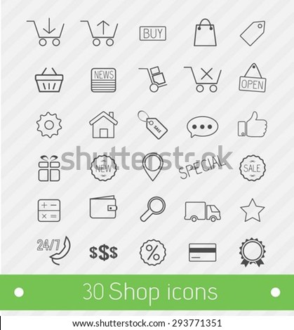 Thin line 30 Shop and commerce icons - stock vector