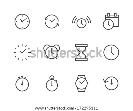 Thin line simple Icon set related to Time - stock vector