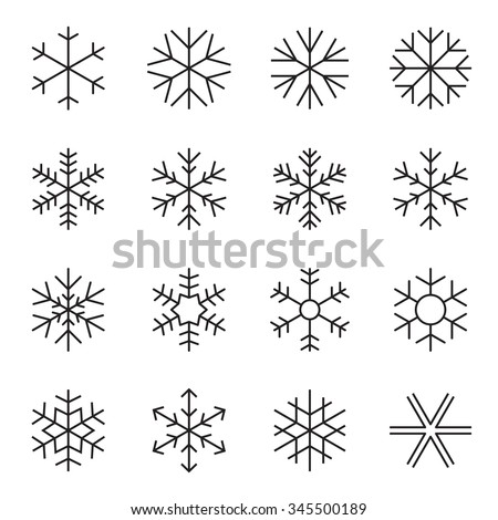 Thin line simple snowflake icons. Symbols of winter, frost, snow, freezer, refrigerator, frozen food. Vector illustration - stock vector