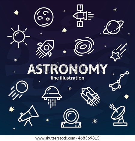 Thin line Space elements set, Astronomy outline logos on night background, vector illustration