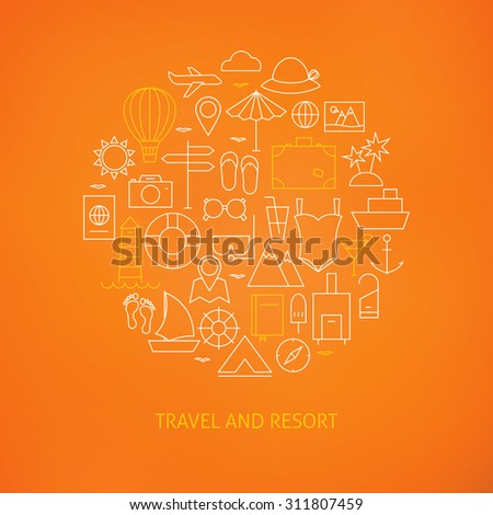 Thin Line Summer Holiday Travel Icons Set Circle Shaped Concept. Vector Illustration of Resort and Beach Resort Objects over Orange Background - stock vector