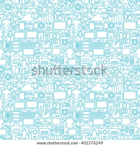 Thin Line Technology Gadgets White Seamless Pattern. Vector Website Design and Seamless Background in Trendy Modern Outline Style. Electronics and Devices.