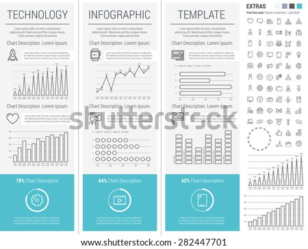 Thin Line Technology Infographic Elements, Charts and icons - stock vector