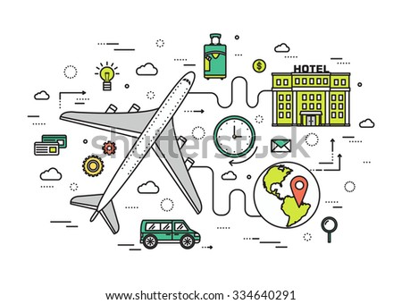 Thin line travel vacation modern illustration concept. Infographic guide way from the plane to the hotel. Icons isolated on white background. Flat vector template design for web and mobile application - stock vector