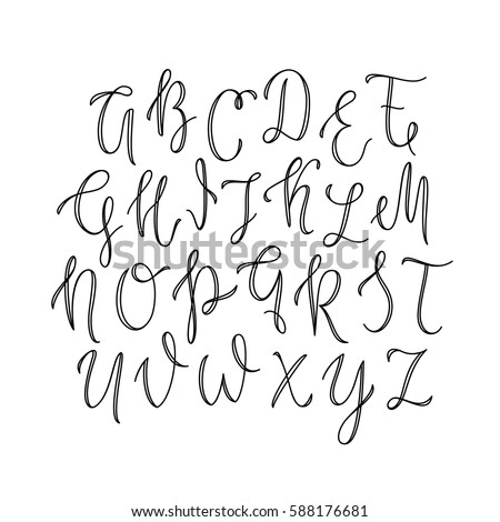 Thin Line Uppercase Lettering ABC Outline Font Script Typeface Modern Calligraphy