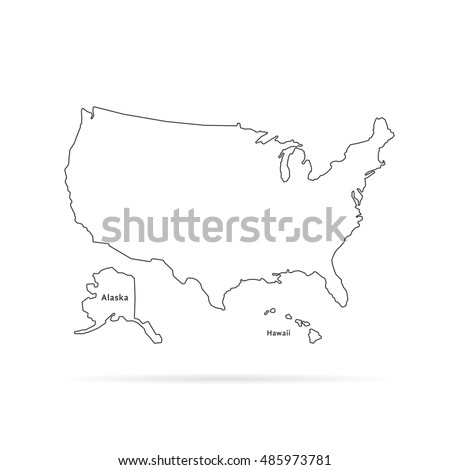 Thin Line Usa Map Other Territories Stock Vector - Us map with territories