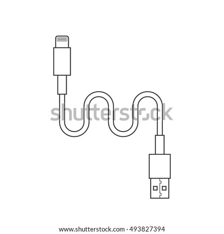 thin line usb lightning charging cable stock vector
