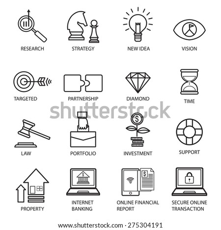 Thin line vector icons of investment, Elements for Financial , business , stock market, strategy, planning,management,target,success, modern flat icon collection  illustration concept, - stock vector