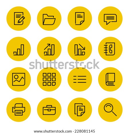 Thin line vector icons set for web site and mobile apps design black and yellow colors flat style. Objects and symbols: folder, document, graph, chart, finance, business, book, photo, speech bubble - stock vector