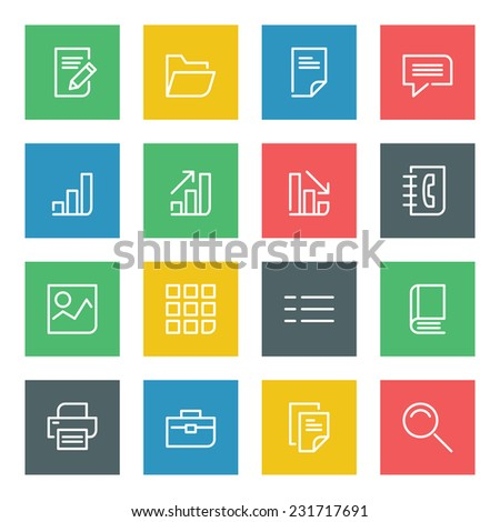 Thin line vector icons set for web site and mobile apps design colors flat style. Objects and symbols: folder, document, graph, chart, finance, business, book, photo, speech bubble  - stock vector