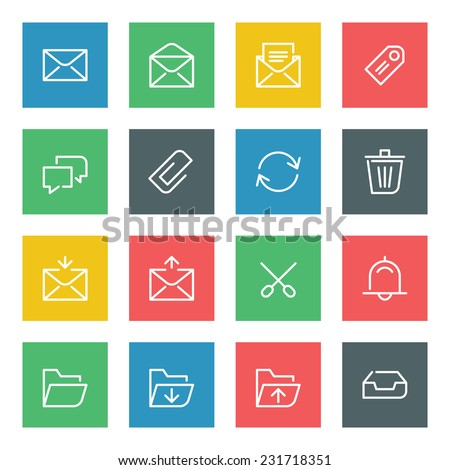 Thin line vector icons set for web site and mobile apps design colors flat style. Objects and symbols: mail, envelope, arrow, folder, message, tag, clip, speech bubble  - stock vector