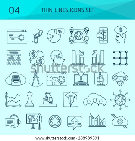 Thin line web icons and vector logos. Workflow production tool, company brand development, marketing services. Modern info graphic outline pictograph concept, easy editable for Your design. - stock vector