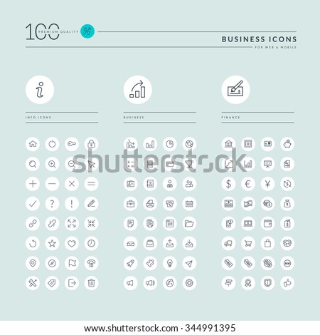 Thin line web icons collection for info, business and finance, online shopping, office. Icons for web and app design. - stock vector