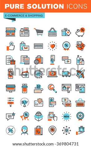 Thin line web icons for e-commerce, m-commerce, online shopping and payment, for websites and mobile websites and apps. - stock vector
