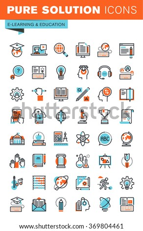 Thin line web icons for education, online training and courses, university and distance education, for websites and mobile websites and apps. - stock vector
