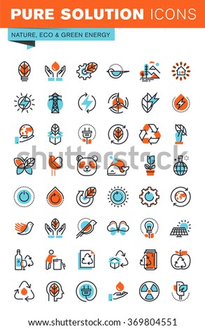 Thin line web icons for environment, recycling, renewable energy, green technology, for websites and mobile websites and apps. - stock vector