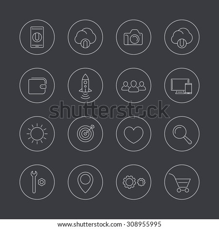 Thin line web icons in circles, vector illustration, eps10, easy to edit
