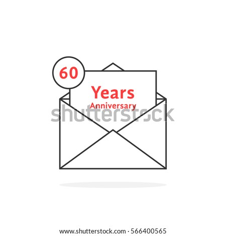 thin line 60 years anniversary logo like open letter concept of send sms e