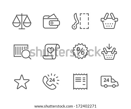 Thin lined icons related to e-commerce. - stock vector