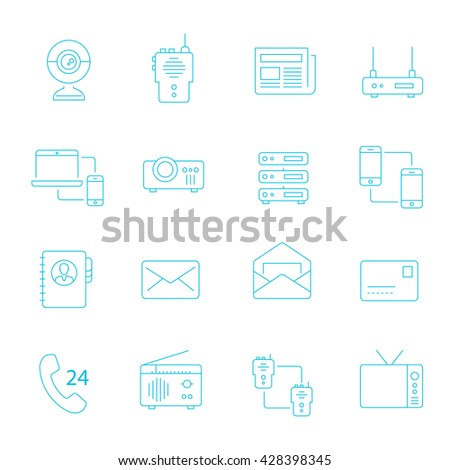 Thin lines icon set - communication devices - stock vector