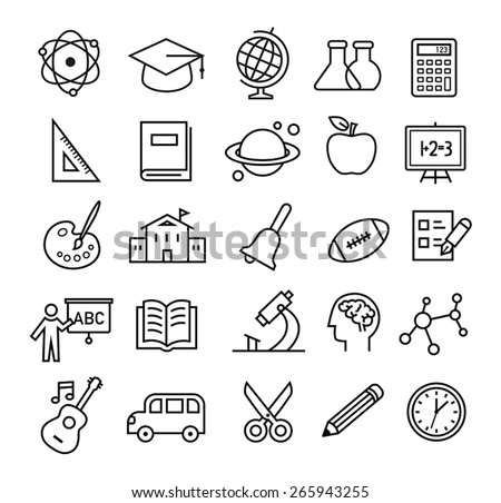 Thin lines icon set with school and education topics. Can be used for web, print or mobile apps design. - stock vector