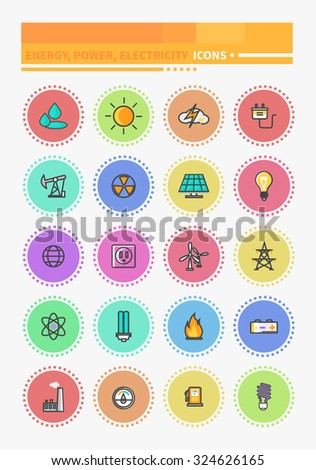 Thin lines icons energy and resource icon set power and energy production, electric industry, natural energy sources. Energy, energy efficiency, save money, energy conservation, green energy, savings - stock vector