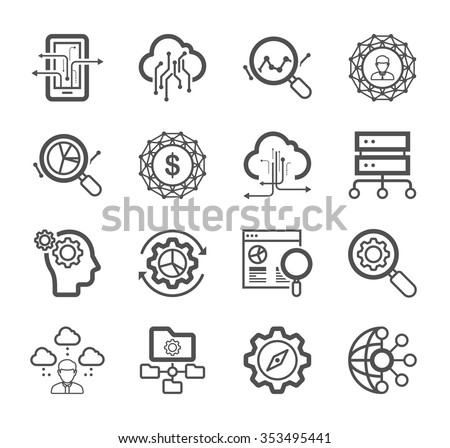 Thin lines icons set of big data center - stock vector