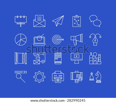 Thin lines icons set of business marketing strategy, market advertising service, brand agency production, website optimization. Modern infographic outline vector design, simple logo pictogram concept. - stock vector
