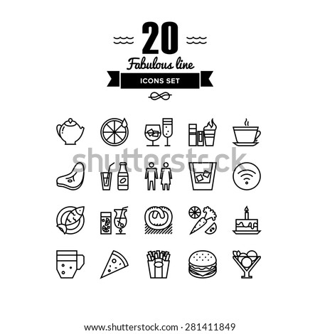 Thin lines icons set of restaurant food and beverages, cafe menu items, popular healthy and various fast-food culinary object. Modern infographic outline vector design, simple logo pictogram concept. - stock vector