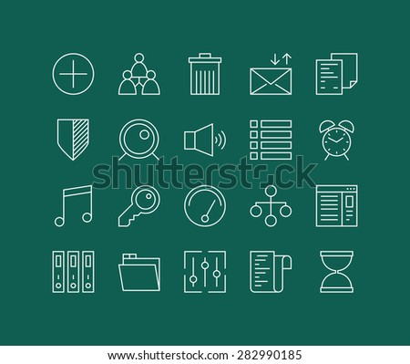 Thin lines icons set of various basic elements, office management things, simple accounting web tools and user interface things. Modern infographic outline vector design, simple logo pictogram concept - stock vector