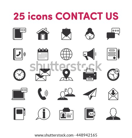 Thin lines web icons set Contact us - stock vector