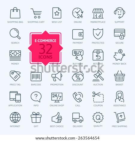 Thin lines web icons set ecommerce stock vector royalty free thin lines web icons set e commerce shopping altavistaventures Images