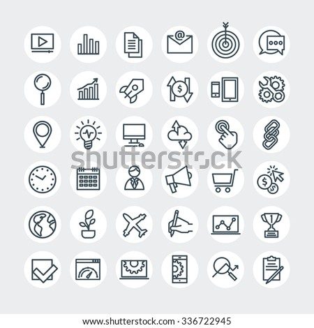 Thin lines web icons set. Search Engine Optimization. Vector illustration.  - stock vector