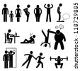 Thin Slim Skinny Weak Man People Person Anorexia Stick Figure Pictogram Icon - stock photo