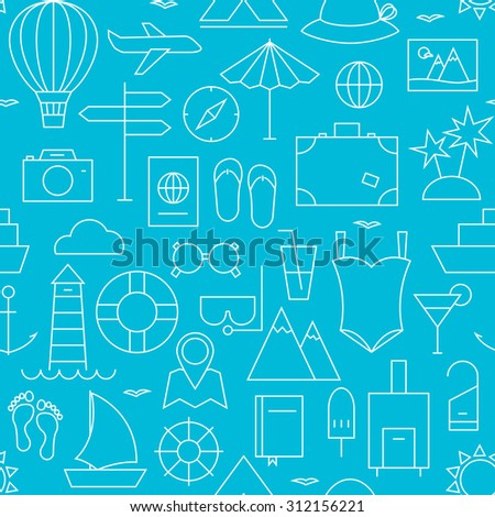 Thin Summer Holiday Line Vacation Resort Seamless Blue Pattern. Vector Travel Design and Seamless Background in Trendy Modern Line Style. Thin Outline Art - stock vector