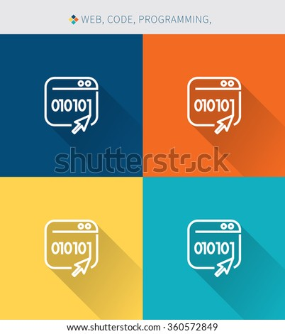 Thin thin line icons set of coding & programming , modern simple style - stock vector