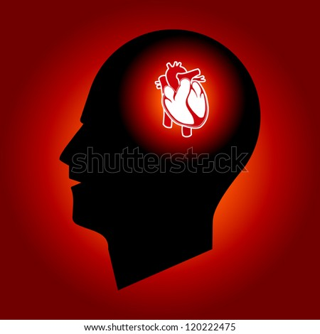 Think About Heart - Heart in Human Head - Conceptual Vector - stock vector