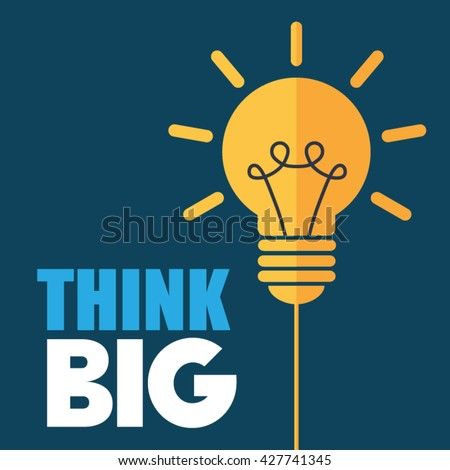 Think big light bulb vector icon. Thinking and motivation. - stock vector