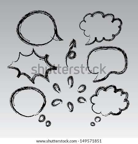 think bubble collection sketch drawing vector