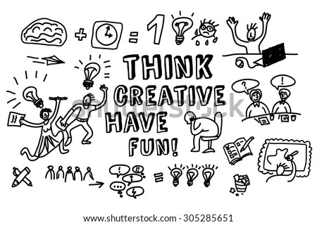 Think creative fun doodles people black and white. Doodles people and objects about fun creative business. Monochrome vector illustration. EPS 8. - stock vector