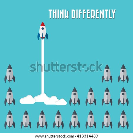 Think differently - Being different, taking risky, move for success in life -The graphic of rocket also represents the concept of courage, enterprise, confidence, belief, fearless, daring, - stock vector